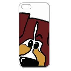 Red Tri Peeping Mini Aussie Dog Apple Seamless iPhone 5 Case (Clear)
