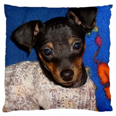 Min Pin In Sweater Standard Flano Cushion Case (Two Sides)