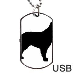 Mudi Fekete Silhouette Dog Tag USB Flash (Two Sides)