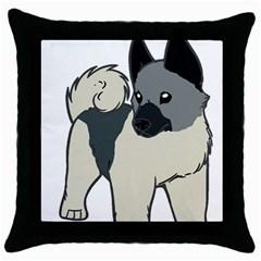Norwegian Elkhound Cartoon Throw Pillow Case (Black)