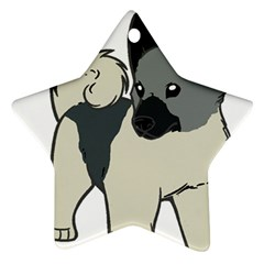 Norwegian Elkhound Cartoon Star Ornament (Two Sides)