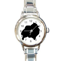 Pomerainian Silo Black Round Italian Charm Watch