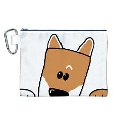 Peeping Shiba Canvas Cosmetic Bag (L)