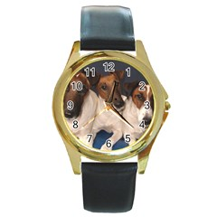 Smooth Fox Terrier Group Round Gold Metal Watch