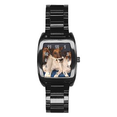 Smooth Fox Terrier Group Stainless Steel Barrel Watch