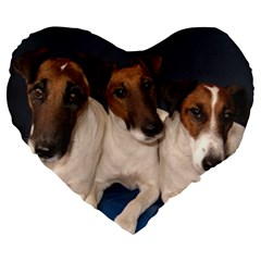 Smooth Fox Terrier Group Large 19  Premium Flano Heart Shape Cushions