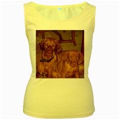 2 Vizslas Women s Yellow Tank Top