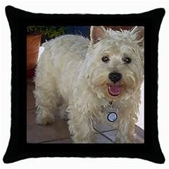 Westie Full Throw Pillow Case (Black)