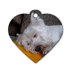 Westy Sleeping Dog Tag Heart (Two Sides)