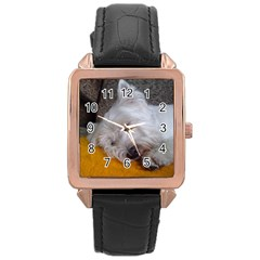 Westy Sleeping Rose Gold Leather Watch