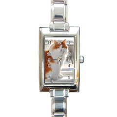 Norwegian Forest Cat Sitting 4 Rectangle Italian Charm Watch