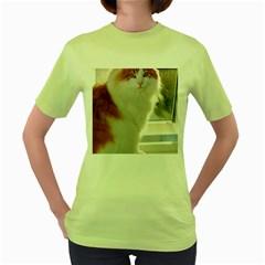 Norwegian Forest Cat Sitting 4 Women s Green T-Shirt