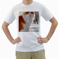Norwegian Forest Cat Sitting 4 Men s T-Shirt (White) (Two Sided)