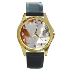 Norwegian Forest Cat Sitting 4 Round Gold Metal Watch