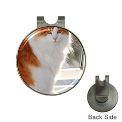 Norwegian Forest Cat Sitting 4 Hat Clips with Golf Markers