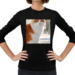 Norwegian Forest Cat Sitting 4 Women s Long Sleeve Dark T-Shirts