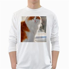 Norwegian Forest Cat Sitting 4 White Long Sleeve T-Shirts