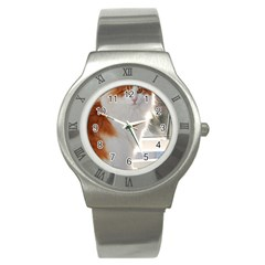 Norwegian Forest Cat Sitting 4 Stainless Steel Watch