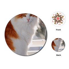 Norwegian Forest Cat Sitting 4 Playing Cards (Round)
