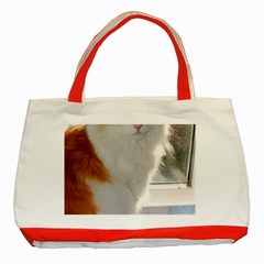 Norwegian Forest Cat Sitting 4 Classic Tote Bag (Red)