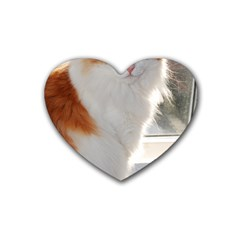 Norwegian Forest Cat Sitting 4 Rubber Coaster (Heart)