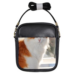 Norwegian Forest Cat Sitting 4 Girls Sling Bags