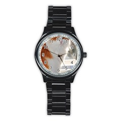 Norwegian Forest Cat Sitting 4 Stainless Steel Round Watch