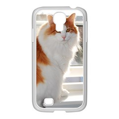 Norwegian Forest Cat Sitting 4 Samsung GALAXY S4 I9500/ I9505 Case (White)