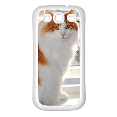Norwegian Forest Cat Sitting 4 Samsung Galaxy S3 Back Case (White)