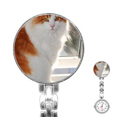 Norwegian Forest Cat Sitting 4 Stainless Steel Nurses Watch