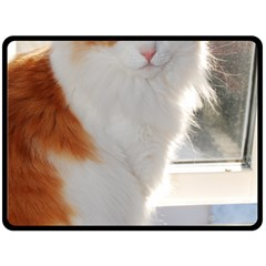 Norwegian Forest Cat Sitting 4 Double Sided Fleece Blanket (Large)