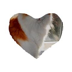 Norwegian Forest Cat Sitting 4 Standard 16  Premium Flano Heart Shape Cushions