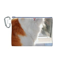 Norwegian Forest Cat Sitting 4 Canvas Cosmetic Bag (M)