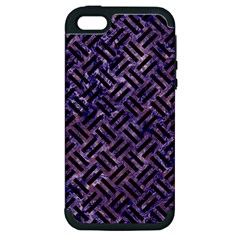 Woven2 Black Marble & Purple Marble (r) Apple Iphone 5 Hardshell Case (pc+silicone)