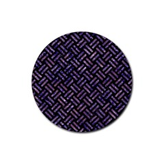 Woven2 Black Marble & Purple Marble Rubber Coaster (round)