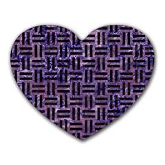 WOV1 BK-PR MARBLE (R) Heart Mousepads
