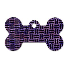Woven1 Black Marble & Purple Marble (r) Dog Tag Bone (two Sides)