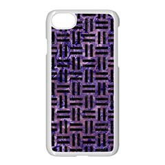 Woven1 Black Marble & Purple Marble (r) Apple Iphone 7 Seamless Case (white)