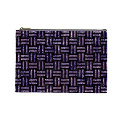 Woven1 Black Marble & Purple Marble Cosmetic Bag (large)