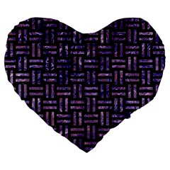 Woven1 Black Marble & Purple Marble Large 19  Premium Heart Shape Cushion