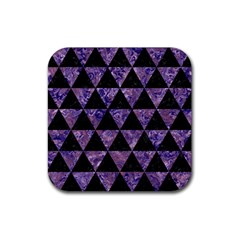 Triangle3 Black Marble & Purple Marble Rubber Square Coaster (4 Pack)