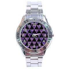 Triangle3 Black Marble & Purple Marble Stainless Steel Analogue Watch