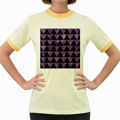 TRI2 BK-PR MARBLE Women s Fitted Ringer T-Shirts