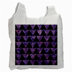 Triangle2 Black Marble & Purple Marble Recycle Bag (two Side)