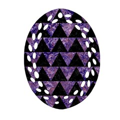 Triangle2 Black Marble & Purple Marble Oval Filigree Ornament (two Sides)