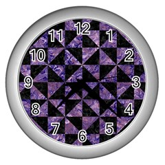 Triangle1 Black Marble & Purple Marble Wall Clock (silver)