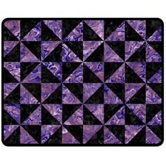 Triangle1 Black Marble & Purple Marble Fleece Blanket (medium)