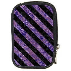 Stripes3 Black Marble & Purple Marble (r) Compact Camera Leather Case