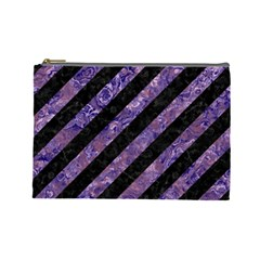 Stripes3 Black Marble & Purple Marble Cosmetic Bag (large)