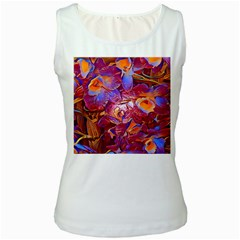 Floral Artstudio 1216 Plastic Flowers Women s White Tank Top